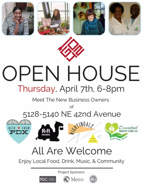 GO42 Open House - April 7, 6-8pm. Meet the new business owners of 5128-5140 NE 42nd Ave