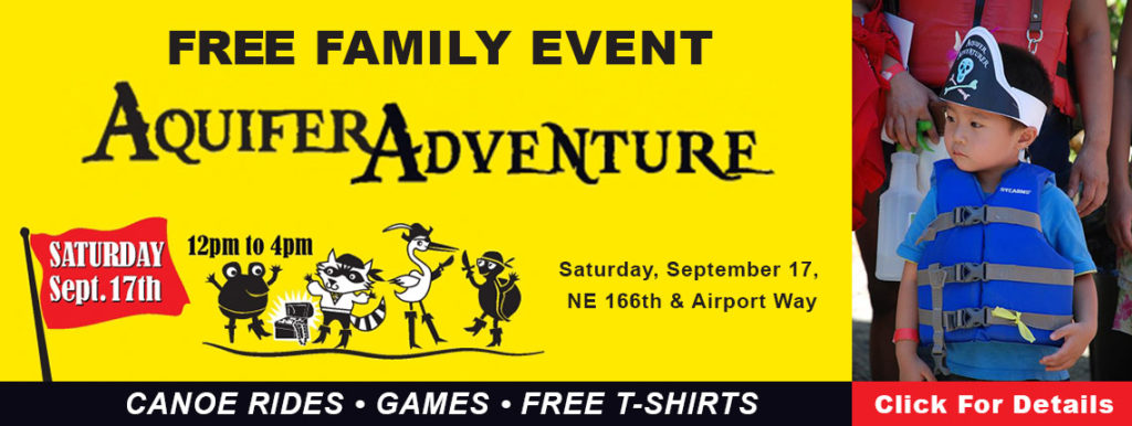 Free family event - Aquifer Adventure - Sept 17 NE 166 and Airport Way