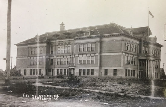 The original Vernon School was destroyed by fire in 1932. This circa 1912 view of the school's south side is looking north-northwest. The main entrance was on the north side in the center. Photo courtesy of the Oregon Historical Society