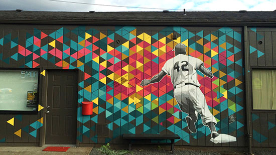 Jackie Robinson mural on NE 42nd Ave.